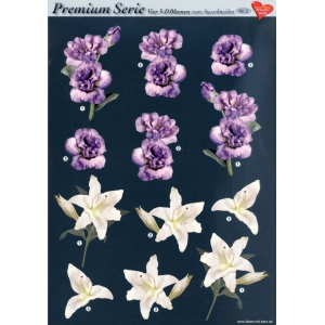 Hearty Crafts 3D Premiumserie, 6 Pcs Flowers 02 Cutting Sheets