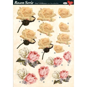 3D Decoupage Sheets A4, 6 pcs Roses 08 Cutting Sheets