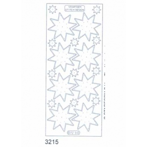 Stitch by Design Stickers - Stars: Transparent Silver