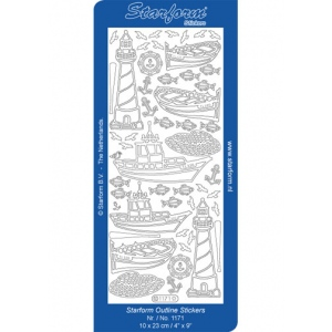 Deco Stickers - Lighthouses and Boats: Silver