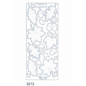 Stitch by Design Stickers - Leaves: Transparent Glitter Silver