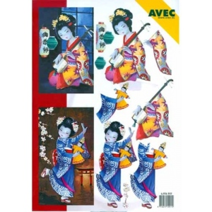 Oriental Greetings Print - geisha girl/instrument
