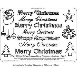 Easy Emboss 'Merry Christmas' Outlines BOLD