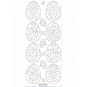 Deco Stickers - Floral Eggs: Glitter Silver