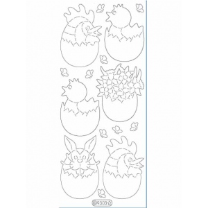 Deco Stickers - Large Half Eggs: Glitter Gold