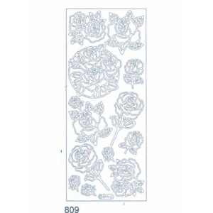 Deco Stickers - Roses: Silver