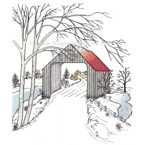 Frog's Whiskers Ink - Covered Bridge Stamp