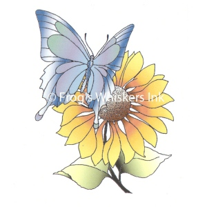 Frog's Whiskers Stamps - Butterfly Flower