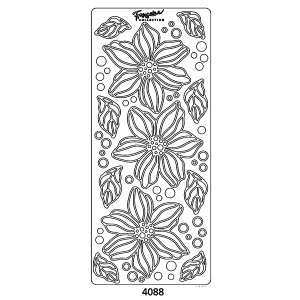 Peel Off Sticker -Large Bloom With Leaves: Silver