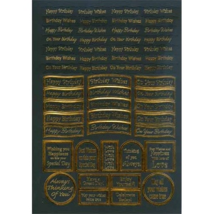 Craft UK Caption - birthday gold foil/black