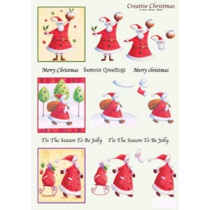 Craft UK Creative Christmas Window Decoupage Santa