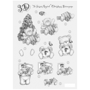 Craft UK  Silver Christmas Decoupage Bear With Tree