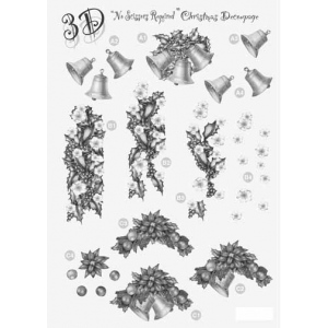 Craft UK Silver Christmas Decoupage Decorations