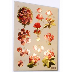 Craft UK  - Red, Pink, Purple Flowers - Metallic