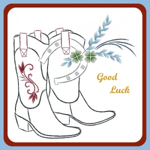 KC Embroidery Pattern - Cowgirl boots with lucky horse shoe