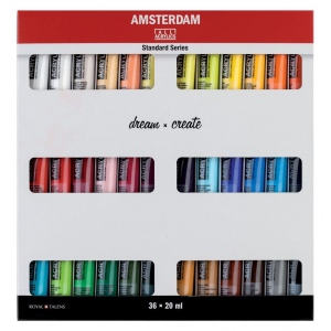 Royal Talens Amsterdam® All Acrylics Standard Series 36-Color Paint Set 20ml: Multi, Tube, 120 ml, Acrylic, (model 17820436), price per set