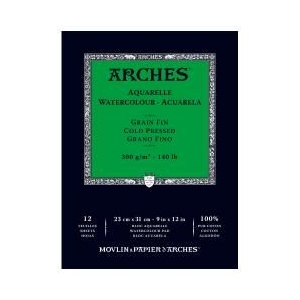 "Arches® 9""  x 12"" 140 lb./300g Cold Press Watercolor Pad 12 Sheets Natural White: White/Ivory, Sheet, 12 Sheets, 9"" x 12"", Cold Press, 140 lb, (model 1795092), price per 12 Sheets pad"