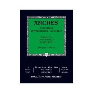 "Arches 10"" x 14"" 140 lb./300g Cold Press Watercolor Pad 12 Sheets Natural White"
