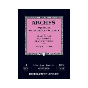 "Arches® 9""  x 12"" 140 lb./300g Hot Press Watercolor Pad 12 Sheets Natural White: White/Ivory, Sheet, 12 Sheets, 9"" x 12"", Hot Press, 140 lb, (model 1795097), price per 12 Sheets pad"