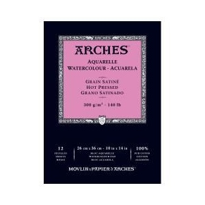 "Arches® 10"" x 14"" 140 lb./300g Hot Press Watercolor Pad 12 Sheets Natural White: White/Ivory, Sheet, 12 Sheets, 10"" x 14"", Hot Press, 140 lb, (model 1795098), price per 12 Sheets pad"