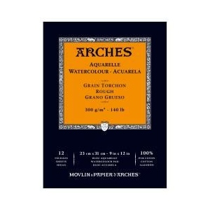 "Arches® 9"" x 12"" 140 lb./300g Rough Watercolor Pad 12 Sheets Natural White: White/Ivory, Sheet, 12 Sheets, 9"" x 12"", Rough, 140 lb, (model 1795102), price per 12 Sheets pad"