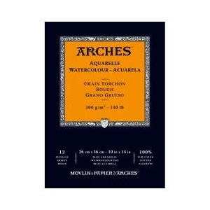 "Arches® 10"" x 14"" 140 lb./300g Rough Watercolor Pad 12 Sheets Natural White: White/Ivory, Sheet, 12 Sheets, 10"" x 14"", Rough, 140 lb, (model 1795103), price per 12 Sheets pad"