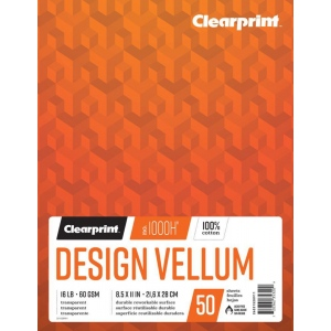 "Clearprint® 1000H® Design Vellum 8.5"" x 11"": Book, 50 Sheets, 4"" x 6"", (model C26321520911), price per each"