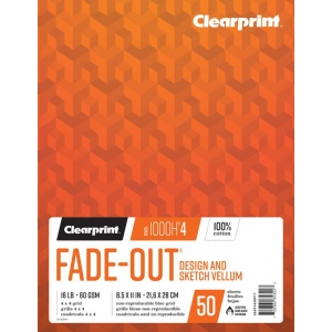"Clearprint® 1000H®4 Fade-Out Vellum 8.5"" x 11"": Book, 50 Sheets, 6"" x 8"", (model C26321620911), price per each"