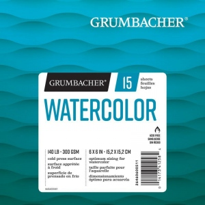 "Grumbacher® Cold Press Watercolor Paper 6"" x 6"": 15 Sheets, 6"" x 6"", Watercolor, (model G26460600511), price per each"