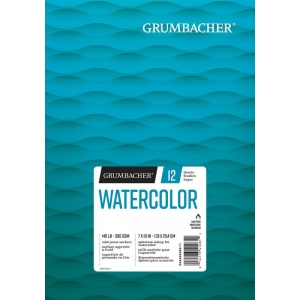 "Grumbacher® Cold Press Watercolor Paper Fold Over 7"" x 10"" : 12 Sheets, 7"" x 10"", Watercolor, (model G26460600611), price per each"