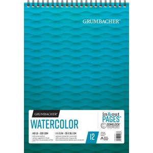"Grumbacher® Cold Press Watercolor Paper Wirebound 11"" x 15"": 12 Sheets, 11"" x 15"", Watercolor, (model G26460601413), price per each"