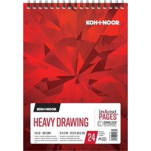 "Koh-I-Noor® Heavy Drawing Paper 9"" x 12"": 24 Sheets, 9"" x 12"", 114 lb, (model K26170201012), price per each"