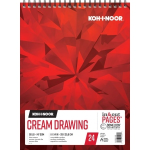 "Koh-I-Noor® Cream Drawing Paper 11"" x 14"": 24 Sheets, 11"" x 14"", 90 lb, (model K26170211312), price per each"