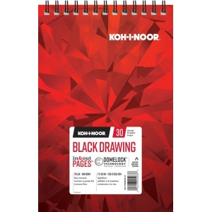 "Koh-I-Noor® Black Drawing Paper 7"" x 10"": 30 Sheets, 7"" x 10"", 70 lb, (model K26170220612), price per each"