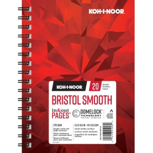 "Koh-I-Noor® Bristol Smooth 5.5"" x 8.5"": 20 Sheets, 5.5"" x 8.5"", 100 lb, (model K26170410413), price per each"