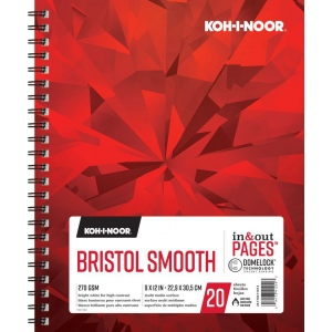 "Koh-I-Noor® Bristol Smooth 9"" x 12"": 20 Sheets, 9"" x 12"", 100 lb, (model K26170411013), price per each"