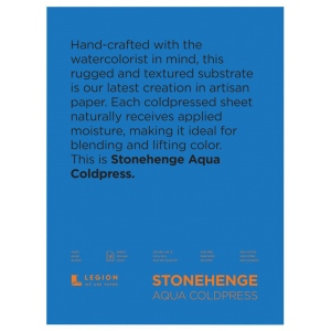 "Stonehenge® Aqua 12"" x 16"" Cold Press Watercolor Block: 6 Sheets, 12"" x 16"", Cold Press, 140 lb, (model L21-SQC140WH1216), price per each"