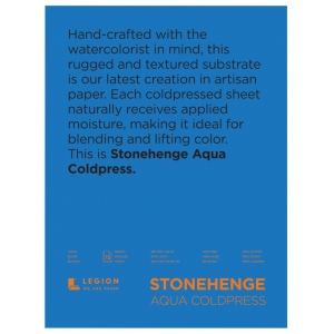 "Stonehenge® Aqua 18"" x 24"" Cold Press Watercolor Block: 6 Sheets, 18"" x 24"", Cold Press, 140 lb, (model L21-SQC140WH1824), price per each"