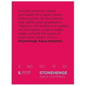 "Stonehenge® Aqua 12"" x 16"" Hot Press Watercolor Block: 6 Sheets, 12"" x 16"", Hot Press, 140 lb, (model L21-SQH140WH1216), price per each"