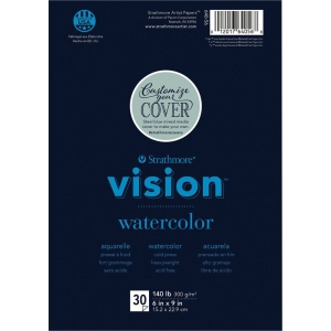 "Strathmore® Vision™ Watercolor Pad 6"" x 9"": Pad, 30 Sheets, 6"" x 9"", Cold Press, 140 lb, (model ST640-56), price per 30 Sheets pad"