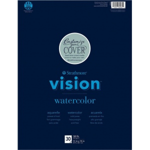 "Strathmore® Vision™ Watercolor Pad 11"" x 15"": Pad, 30 Sheets, 11"" x 15"", Cold Press, 140 lb, (model ST640-61), price per 30 Sheets pad"
