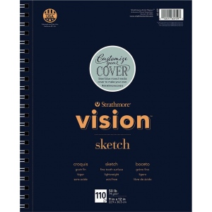 "Strathmore® Vision™ Sketch Pad 9"" x 12"" : Pad, 110 Sheets, 9"" x 12"", 50 lb, (model ST657-59), price per 110 Sheets pad"