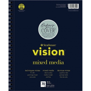 "Strathmore® Vision™ Mixed Media Pad 9"" x 12"": Pad, 70 Sheets, 9"" x 12"", 98 lb, (model ST662-59), price per 70 Sheets pad"