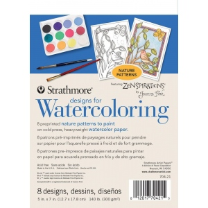 "Strathmore® Designs for Watercoloring Nature: Book, 5"" x 7"", Cold Press, (model ST704-21), price per pad"