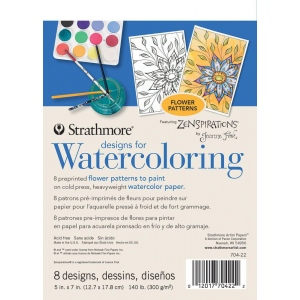 "Strathmore® Designs for Watercoloring Flowers: Book, 5"" x 7"", Cold Press, (model ST704-22), price per pad"