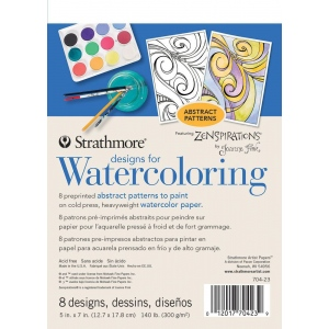 "Strathmore® Designs for Watercoloring Abstract: Book, 5"" x 7"", Cold Press, (model ST704-23), price per pad"