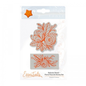 Tonic Studios Essentials - Delicate Detail - Floral Flourish Stamp - 1338E