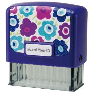 Guard Your ID Medium Stamp - Blue Flower