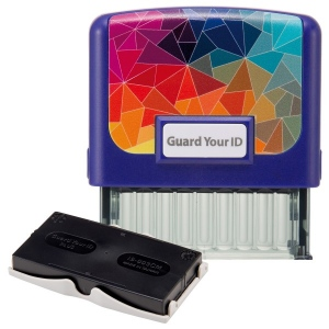 Guard Your ID Medium Stamp W/Refill BL Mosaic