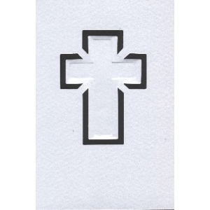 Cards/Envl - Cross motif - SATIN: White